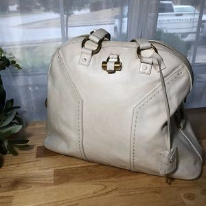 YSL Large White Leather Muse Bag
